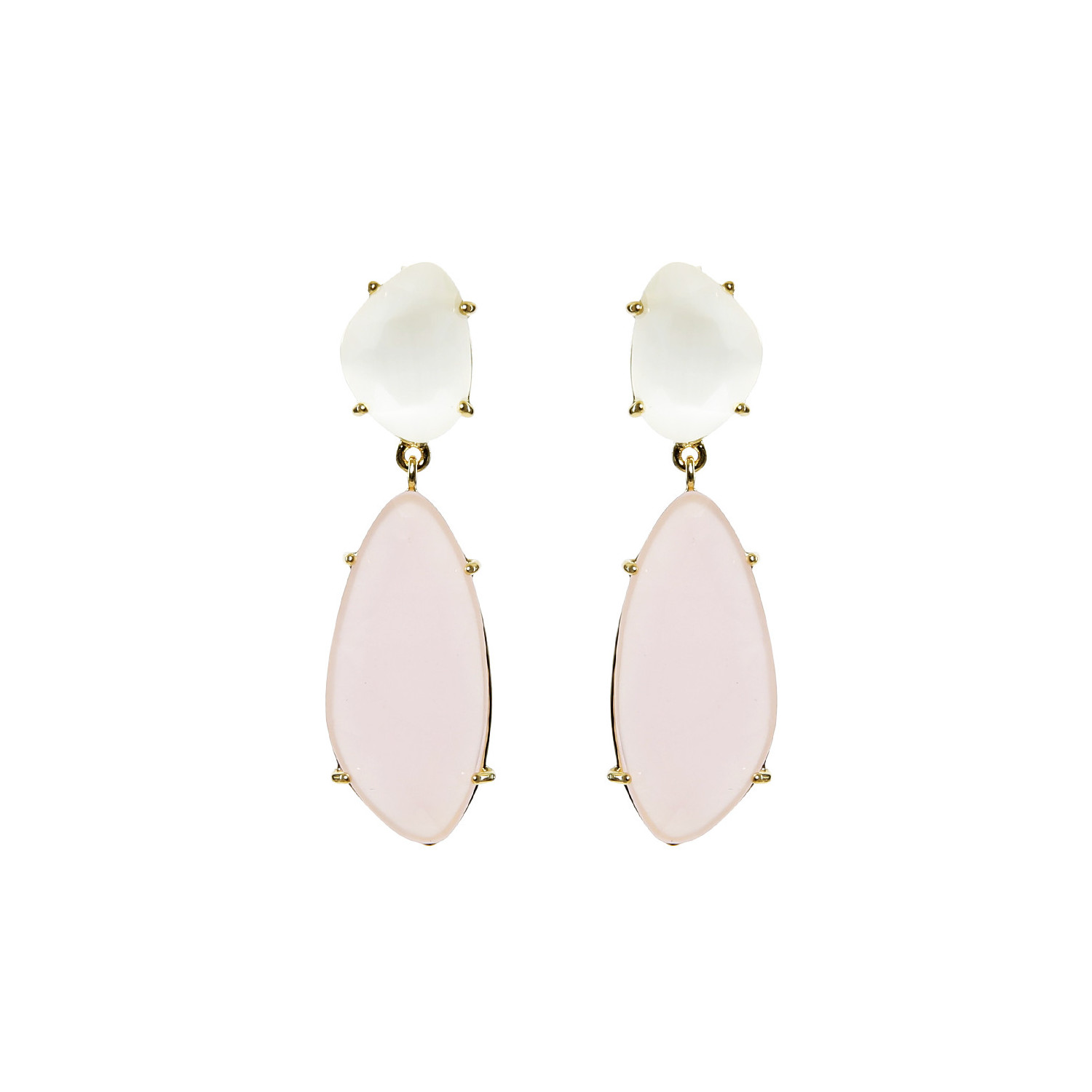 Starlight Silver Droplets Earrings with pink stone