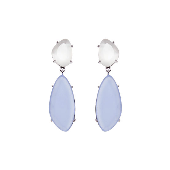 Starlight Silver Droplets Earrings with blue stone