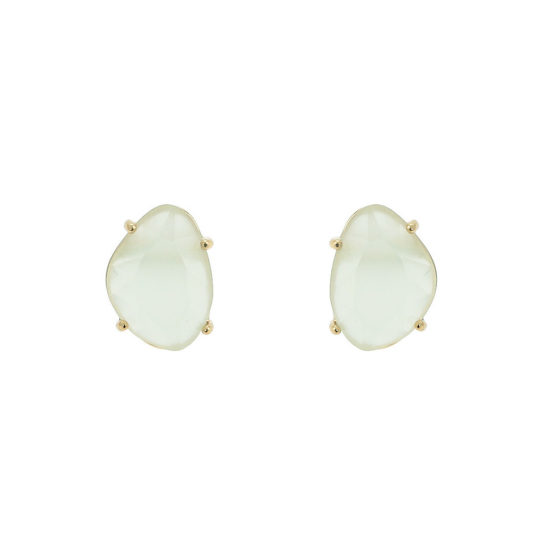 Classic gold stud earrings with green stone
