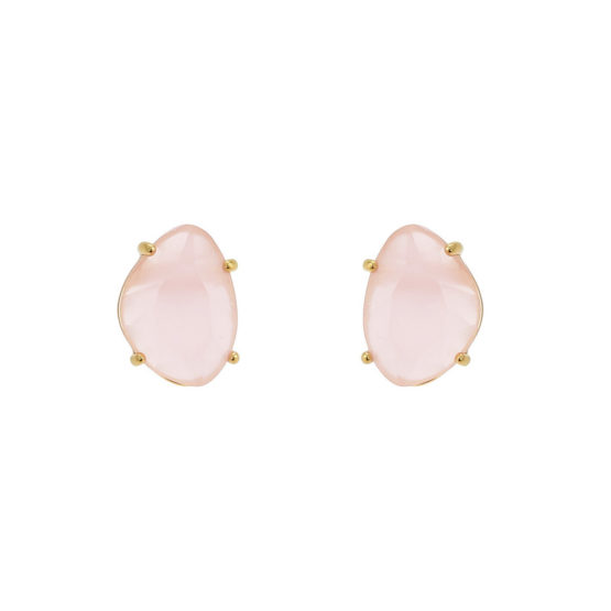 Classic gold stud earrings with pink stone
