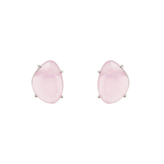 Classic silver stud earrings with pink stone