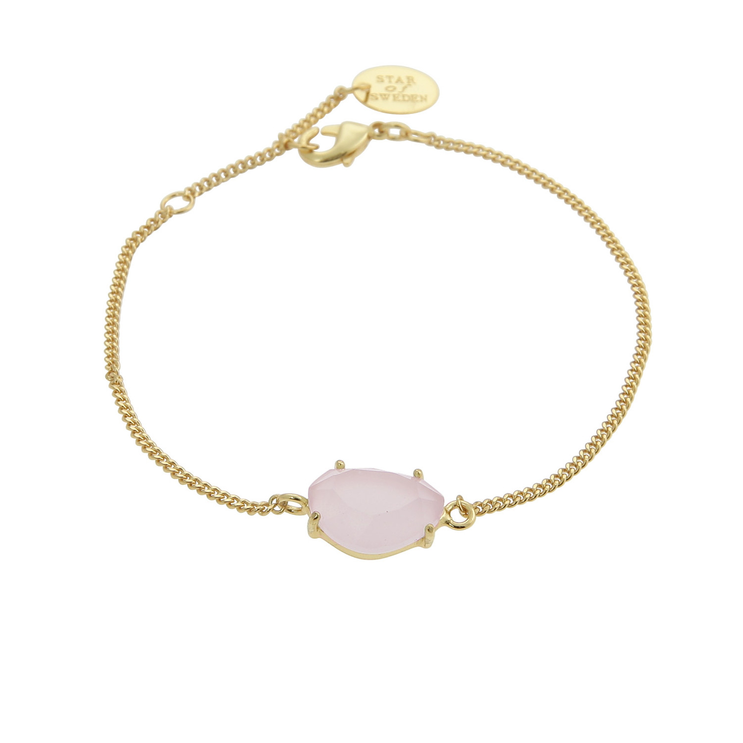 Gold bracelet with pink stone