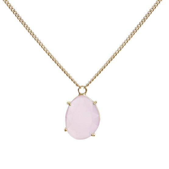 Kort halsband i guld med rosa sten