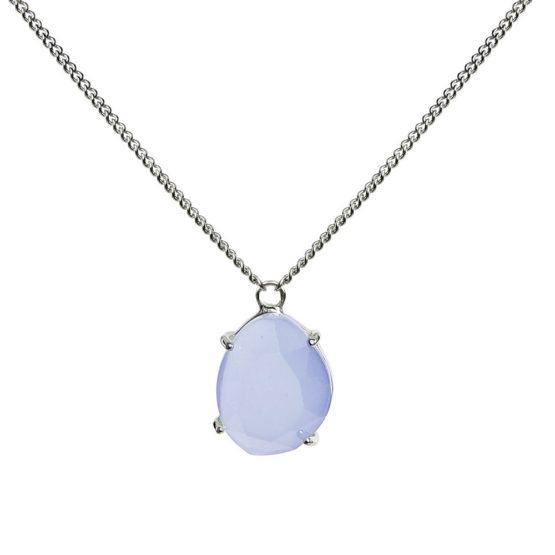 Kort halsband i silver med blå sten