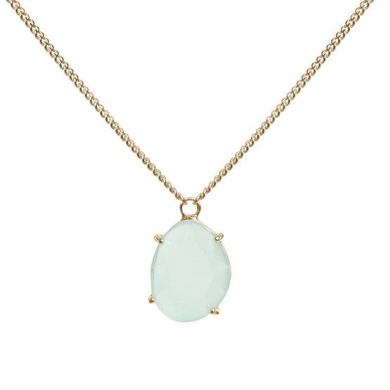 Kort halsband med grön sten i guld
