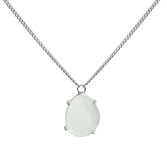 Kort halsband med grön sten i silver