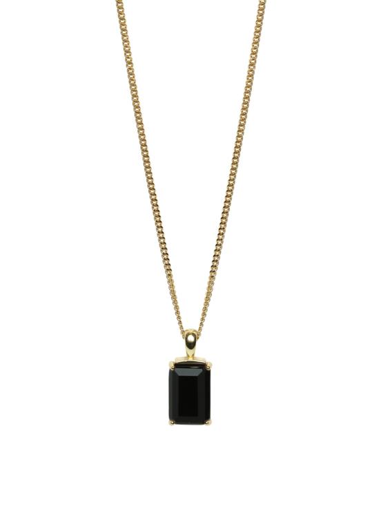 Halsband i guld med svart sten