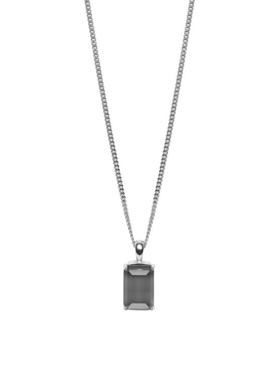 Halsband i silver med grå sten