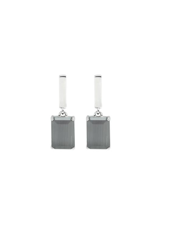 Örhängen i silver med grå sten