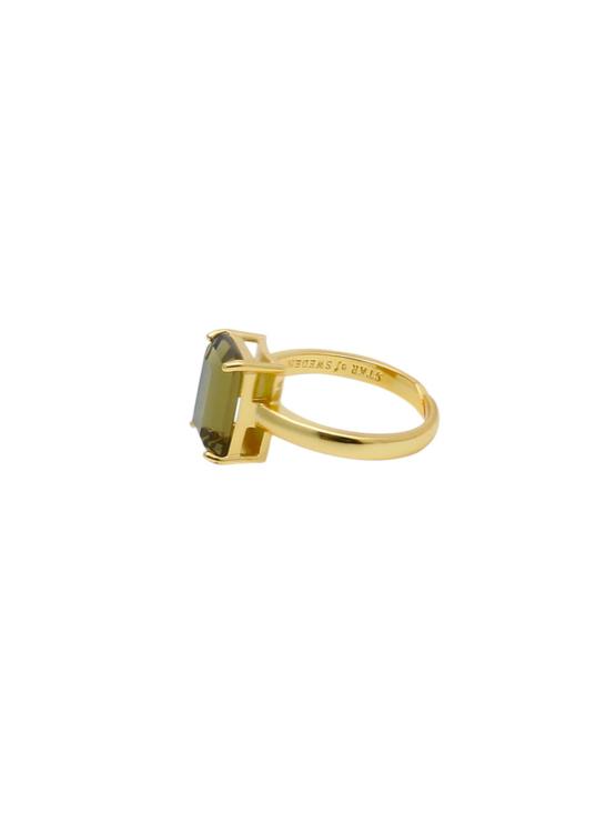 Justerbar ring i guld med brun sten