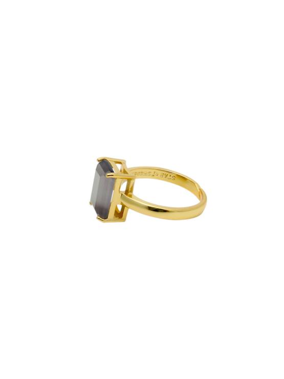 Justerbar ring i guld med grå sten