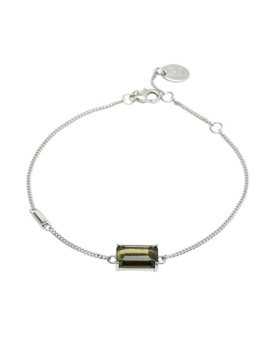 Armband i silver med brun sten