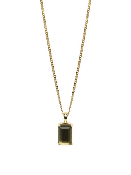 Halsband i guld med brun sten